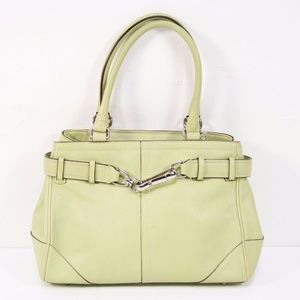 Coach Hampton Green Leather Small Satchel